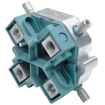 Compact tap connectors with shear heads, four conductor cables