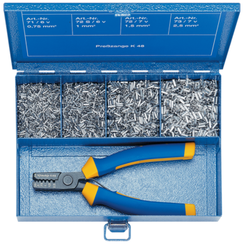 SK 30 B Steel assortment box with cable end-sleeves and crimping tool