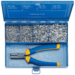 Steel assortment box with cable end-sleeves and crimping tool