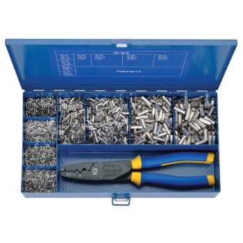 SK 32 B Steel assortment box with cable end-sleeves and crimping tool
