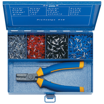 SK 45 B Steel assortment box with insl. cable end-sleeves and crimping tool