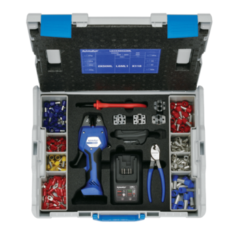 L-BOXX with electromechanical crimping tool EK 50 ML 0.14 to 50 mm² and extensive additional equipment