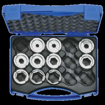 Crimping die set, 10-300 mm² A 22 in plastic case, 11-pce.