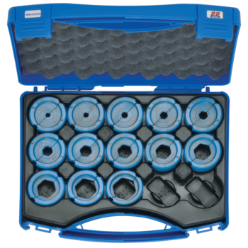 Crimping die set 6-300 mm², blue connection® B22 in plastic case, 14-pce.
