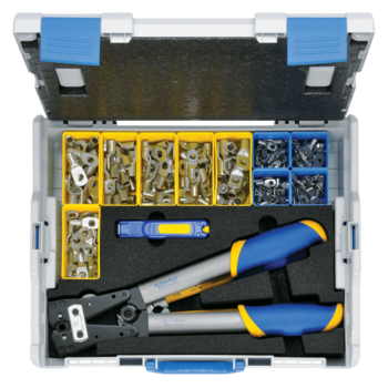 L-BOXX 50B from plastic with standard equipment for electrical installations